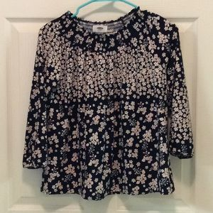 Old Navy navy & blush floral tunic